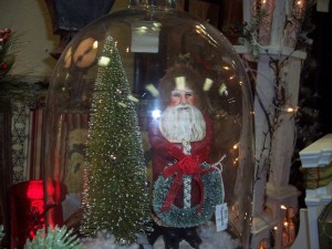 Santa under glass cloche