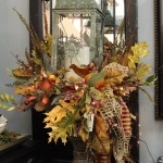 lantern in urn fall arrangement