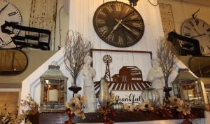 Thanksgiving mantle at Mini Bazaar, Fall 2017